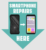 Smartphone repairs flat design sign. Vector illustration of broken and repaired phone with indicative pointers for advertising ban Royalty Free Stock Images