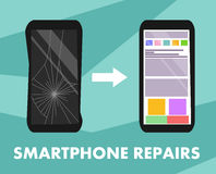 Smartphone repairs flat design sign. Vector illustration of broken and repaired phone with indicative pointers for advertising ban Royalty Free Stock Photo