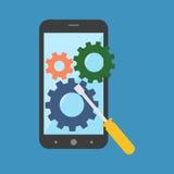 Smartphone-reparatieconcept Vlak Ontwerp Royalty-vrije Stock Fotografie