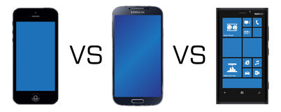 Smartphone rivals. Iphone 5 vs Samsung Galaxy S4 vs Nokia Lumia 920 isolated in white background Royalty Free Stock Photography