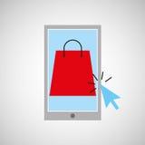 Smartphone robi zakupy online torby teraźniejszości grafikę royalty ilustracja