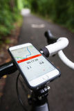 Smartphone Running Strava App on a Road Bike Stock Photography