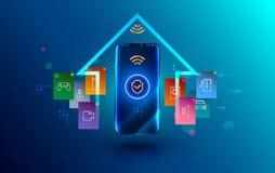 Smartphone s'est relié à la maison futée par l'intermédiaire de la connexion sans fil protégée Sécurité de symbole de bouclier d' photographie stock