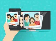 Smartphone s'est relié à la TV montrant l'illustration de vecteur de photos, connexion plate de téléphone portable de bande dessi illustration libre de droits
