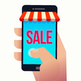 Smartphone with SALE text Stock Photo