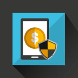 smartphone saving money shield security icon Royalty Free Stock Photo