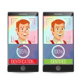 Smartphone Scan Person Face Vector. Electronic Identity Verification. Smartphone Biometric Scan System. Illustration Royalty Free Stock Photo