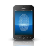 Smartphone scanning fingerprint on a screen. This image was made by an illustrator. Vector EPS 10 format Stock Photography