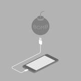 Smartphone-Schwarzfarbisometrisches flaches Design Stock Abbildung