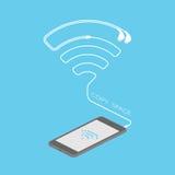 Smartphone-Schwarzfarbisometrisches flaches Design Lizenzfreie Abbildung