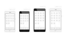 Smartphone-Schwarzweiss-Design-Anzeigengröße 4 7 und 5 5 Zoll verspotten oben Stock Abbildung