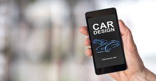 Car design concept on a smartphone royalty free stock images