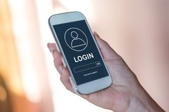 Login concept on a smartphone. Smartphone screen displaying a login concept royalty free stock photo