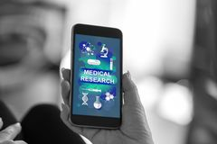 Medical research concept on a smartphone. Smartphone screen displaying a medical research concept royalty free stock photography