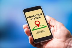 Navigation system concept on a smartphone. Smartphone screen displaying a navigation system concept Royalty Free Stock Photo