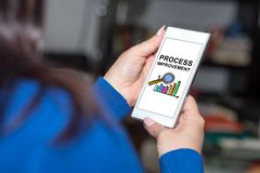 Process improvement concept on a smartphone. Smartphone screen displaying a process improvement concept royalty free stock images