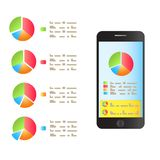 On the smartphone screen is a graph of performance. Vector vector illustration