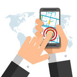 Smartphone screen. Hand holding smartphone, finger touching Royalty Free Stock Photography