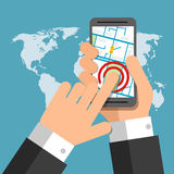 Smartphone screen. Hand holding smartphone, finger touching Royalty Free Stock Images