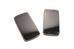 Smartphone screen replacement. Two smartphone isolated on a white background; one has the screen broken Stock Image