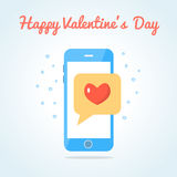 Smartphone with sealed love messege Stock Photos