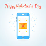 Smartphone with sealed love sms or email Royalty Free Stock Photos