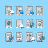 Smartphone security concept. Vector icons set of mobile security. Password key and lock on smartphone. Stock Image