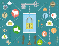 Smartphone security in social media concept. Social media security concept with padlock smartphone, bubble icons, infographics elements and grunge texture Stock Photography