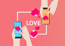 Smartphone send Heart for love in Valentine Day. Vector Design for Love Send sms in valentine day Royalty Free Stock Photography
