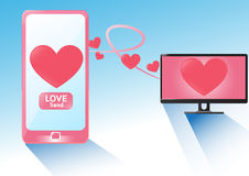 Smartphone send love heart in valentine`s Day. Vector Concept design send  heart  in Valentine`s Day Royalty Free Stock Photography
