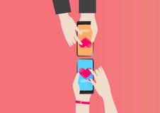 Smartphone serce dla miłości w walentynki ilustracja wektor