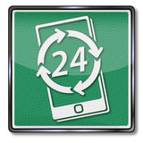 Smartphone and service around the clock Royalty Free Stock Photos