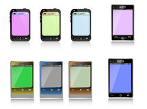 Smartphone set. Set of eight smartphones with various colors Royalty Free Stock Images