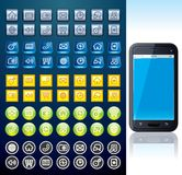 Smartphone with Set of Various Interface Buttons Royalty Free Stock Images