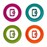 Smartphone Settings icons. Phone signs. Support symbol. Colorful web button with icon. Eps10 Vector stock illustration