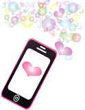 Smartphone. Sharing love Pastel color message Stock Photography
