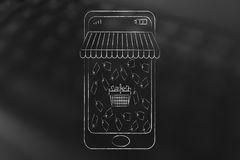 Smartphone with shop awnings and shopping basket surrounded by p. Online shopping sales concept: smartphone with shop awnings coming out of the screen and Stock Photography