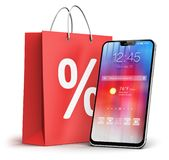 Smartphone and shopping bag with percent discount sale sign Stock Illustration