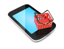 Smartphone and shopping basket Royalty Free Stock Image