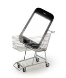 Smartphone in a shopping cart Stock Photos