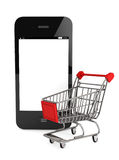 Smartphone and a shopping cart Stock Photography