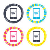Smartphone with shopping cart sign icon. Stock Image