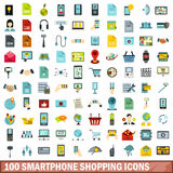 100 smartphone shopping icons set, flat style. 100 smartphone shopping icons set in flat style for any design vector illustration vector illustration