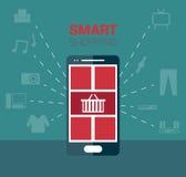 Smartphone shopping illustration Royalty Free Stock Photography