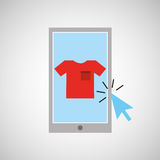 Smartphone shopping online clothes graphic. Vector illustration eps 10 Royalty Free Stock Photography