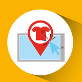 Smartphone shopping online clothes graphic. Vector illustration eps 10 Royalty Free Stock Photos
