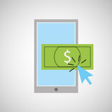 Smartphone shopping online money graphic Royalty Free Stock Photography