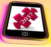 2017 On Smartphone Show Forecasting New Year Royalty Free Stock Image