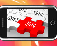 2014 On Smartphone Showing Forecasts. And Predictions vector illustration