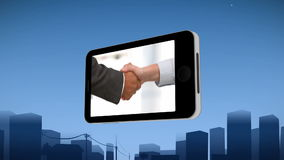 Smartphone showing a handshake stock video footage